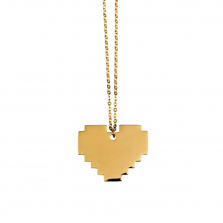 Gold Pixel Heart Necklace