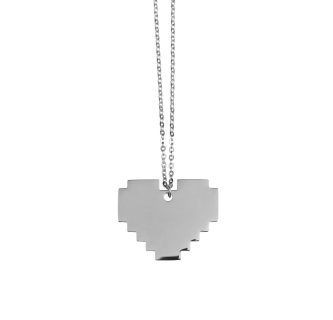 Silver Pixel Heart Necklace
